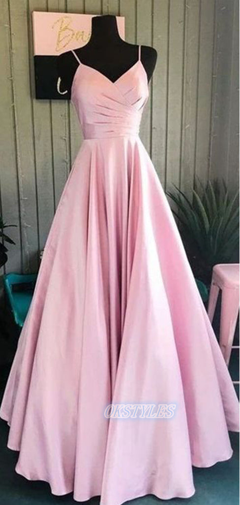 Beautiful A-line Spaghetti Strap Sleeveless Long Prom Dresses, OL001