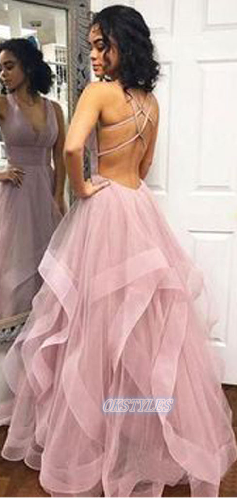 Sexy Organza V-neck Sleeveless Lace up back Long Prom Dresses, OL004