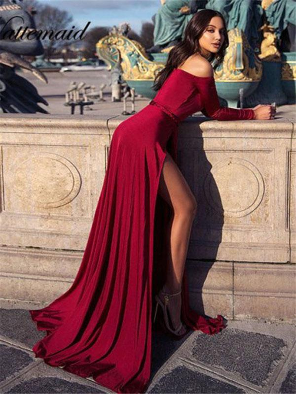 Simple A-line Long Sleeves Cheap Evening Prom Dresses, Long Prom Dresses, OL100