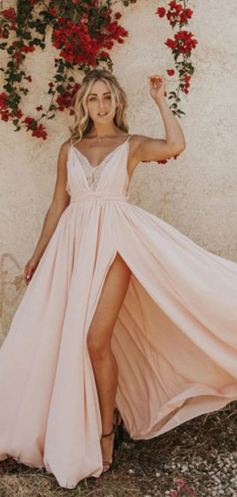 A-line V Neck Sleeveless Cheap Evening Prom Dresses, Long Prom Dresses, OL099