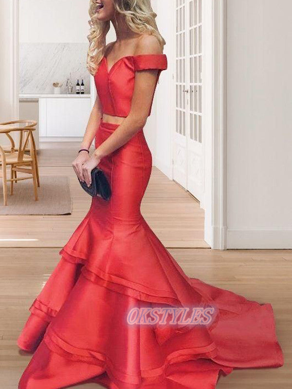 Two Piece Mermaid Off Shoulder Long Prom Dresses, OL012