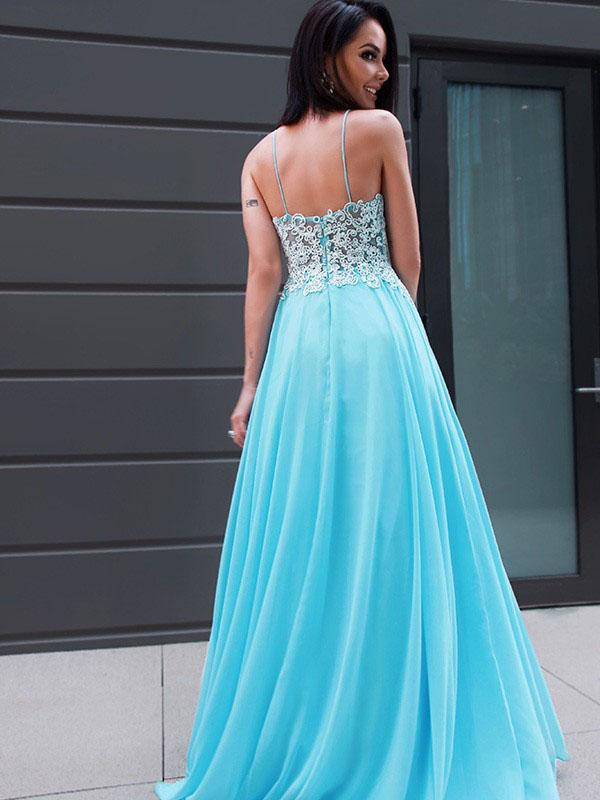 Blue A-line Lace Sleeveless Evening Prom Dresses, Sweet 16 Prom Dresses, OL085