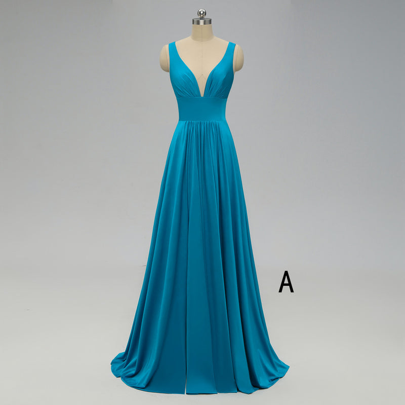 A-line Deep V-neck Backless Bridesmaid Dresses With Pleats, BD0552