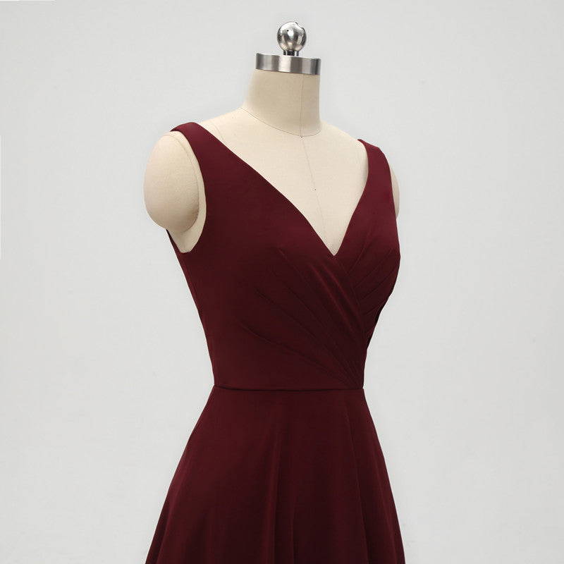 A-line V-neck Dark Red Chiffon Bridesmaid Dresses With Pleats, BD0557-1