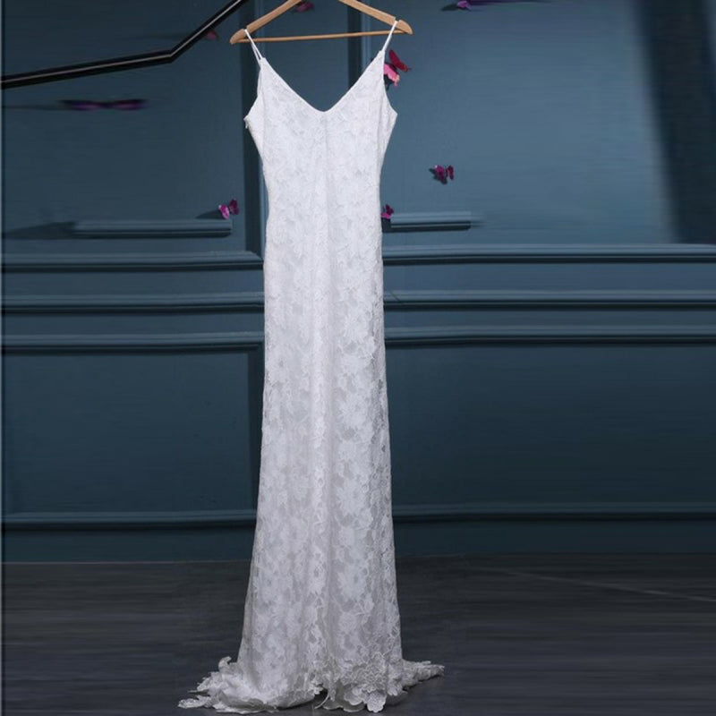 Modest Hot-selling V-neck Chiffon Beading Top Simple Open-back Wedding Dresses with train, WD0344