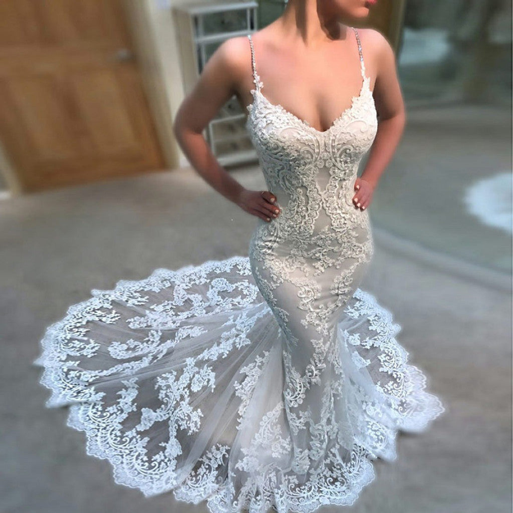 New Arrival Mermaid Lace Appliques Spaghetti Straps Backless Sexy Beach Wedding Dress , WD0350