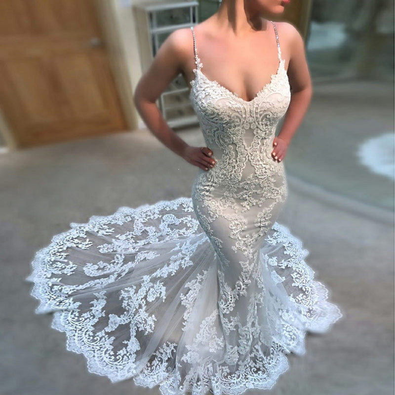Elegant Mermaid Sweetheart Lace Appliques Sleeveless  Ivory Wedding Dresses with train, WD0384