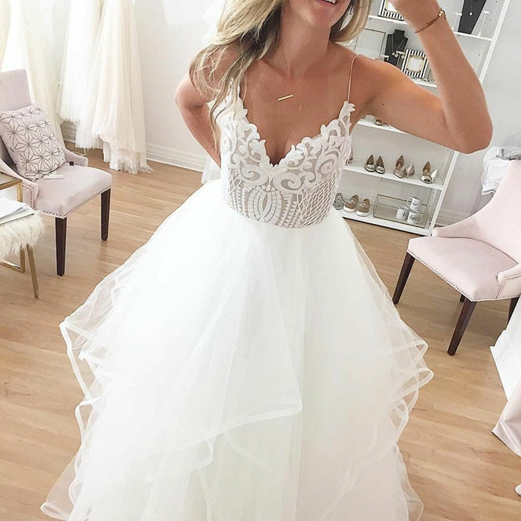 A-Line Floor-Length Sexy Spaghetti Straps V-neck Backless Wedding dresses , WD0380