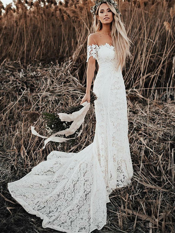 Mermaid Off-shoulder Full Lace Long Wedding dresses With Train, WD0416