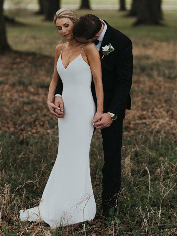 Mermaid Spaghetti Straps V-back Simple Cheap Wedding Dresses, WD0390