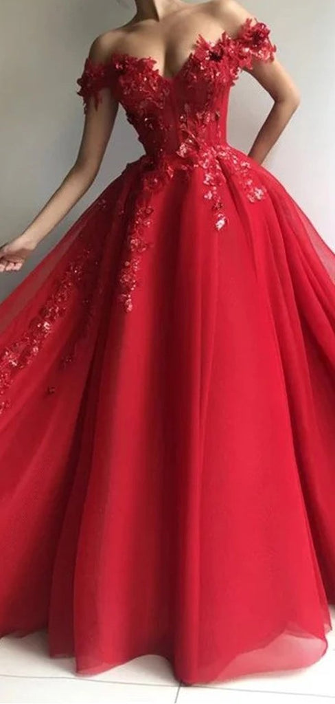 Off Shoulder Applique Custom Evening Prom Dresses, Swee 16 Prom Dresses, OL081