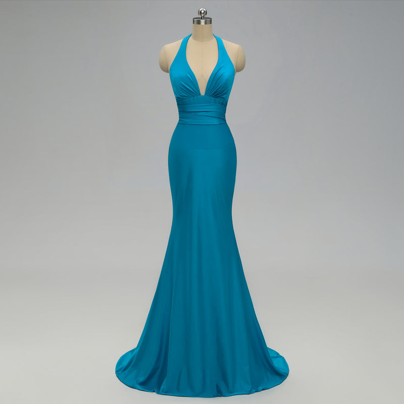 Mermaid Deep V-neck Backless Bridesmaid Dresses With Train, BD0553