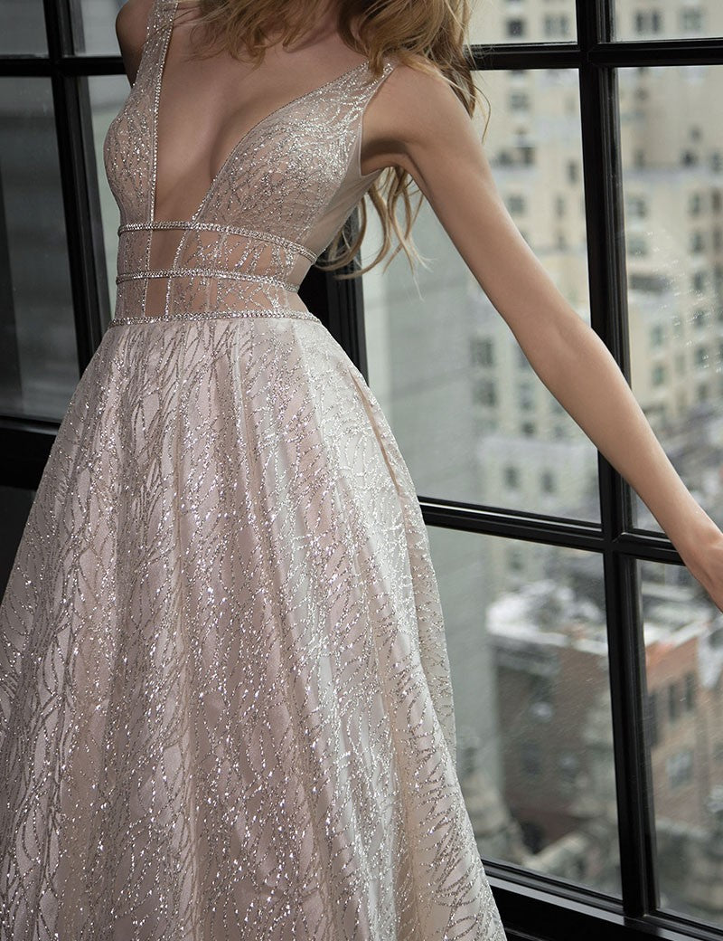 Hot selling A-line Sexy Deep V-Neck Backless Sequins Long Prom Dress, PD0135