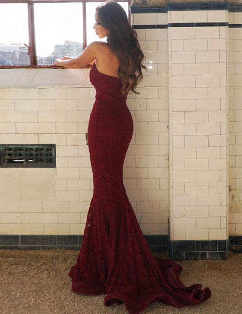 Sweetheart Mermaid Burgundy Lace Prom Dress With Train, PD0548
