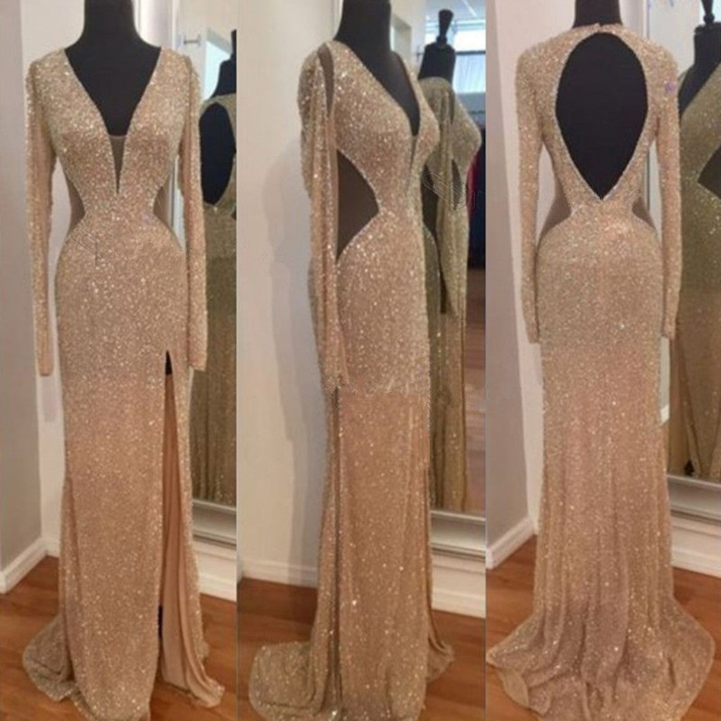 Hot selling V-neck Sequins Long Sleeves Open Back Long Prom Dresses, PD0115