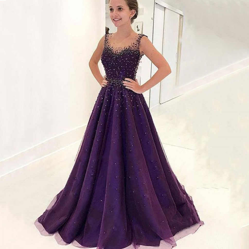 A-Line Sleeveless Scoop Neck Beading Long Tulle Prom Dress With Train, PD0123
