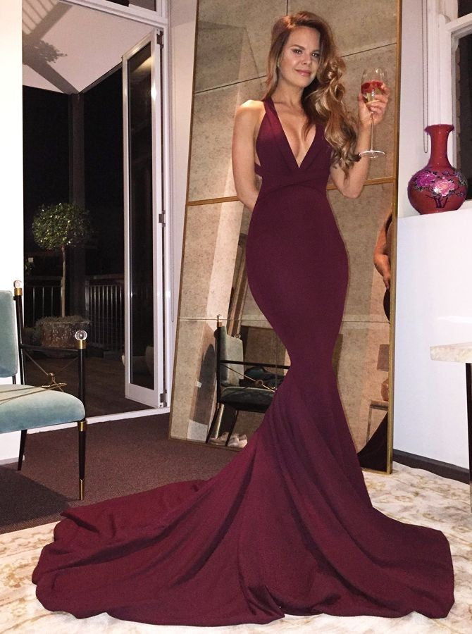 Mermaid V-Neck sleeveless modern evening party dress with tailing, Long prom dresses,  PD0102