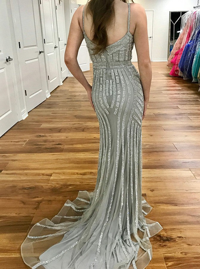 Mermaid Spaghetti Straps Silver Beading Long Prom Dresses, PD0546