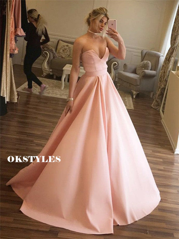 Strapless V-neck Sleeveless Long Pink Prom Dresses With Pleats, PD0606