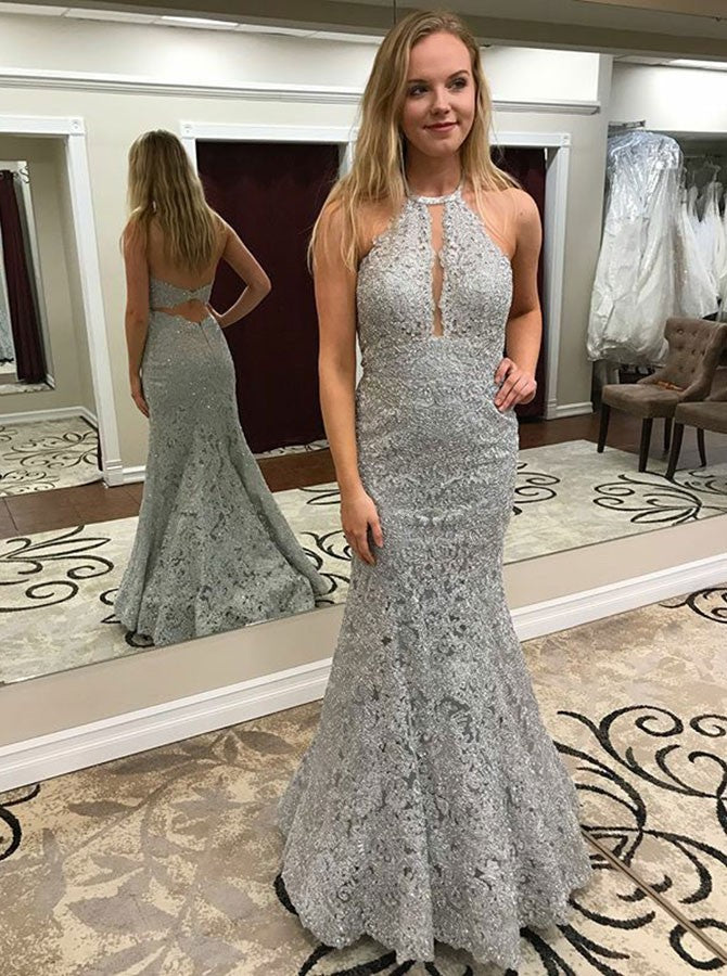 Mermaid Halter Grey Lace Backless Long Prom Dresses, PD0547