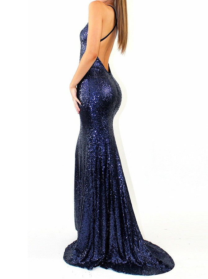 Mermaid Straps V-neck Backless Long Sequins Prom Dresses, PD0605