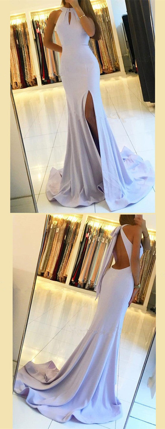 Mermaid Halter Simple Backless Prom Dress With Split, PD0551