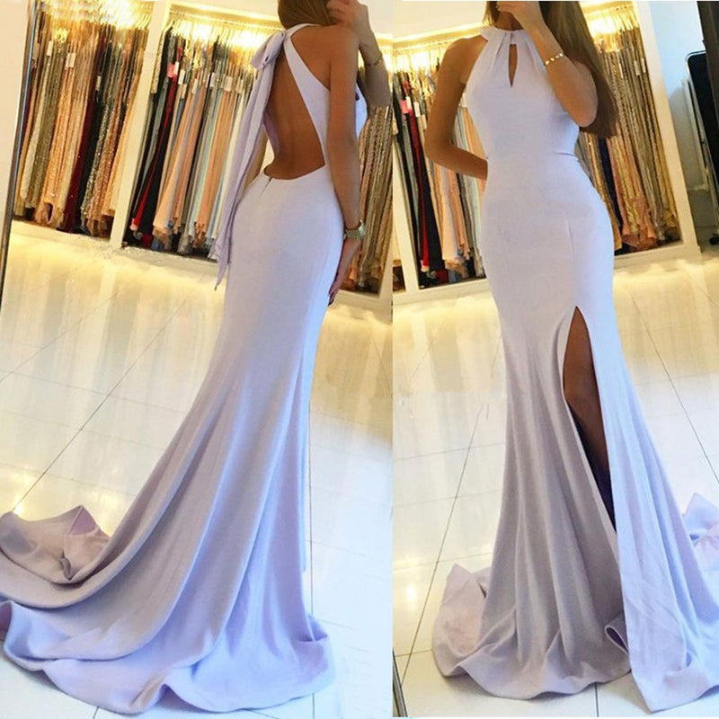 Elegant Spaghetti Straps Lace Up Back Long Prom Dress, PD010