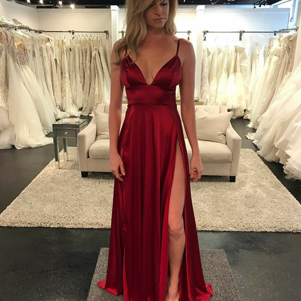 2018 New Arrival Charming Floor-length Sexy V-neck Backless Spaghetti Strap Sleeveless Prom Dress, PD0419