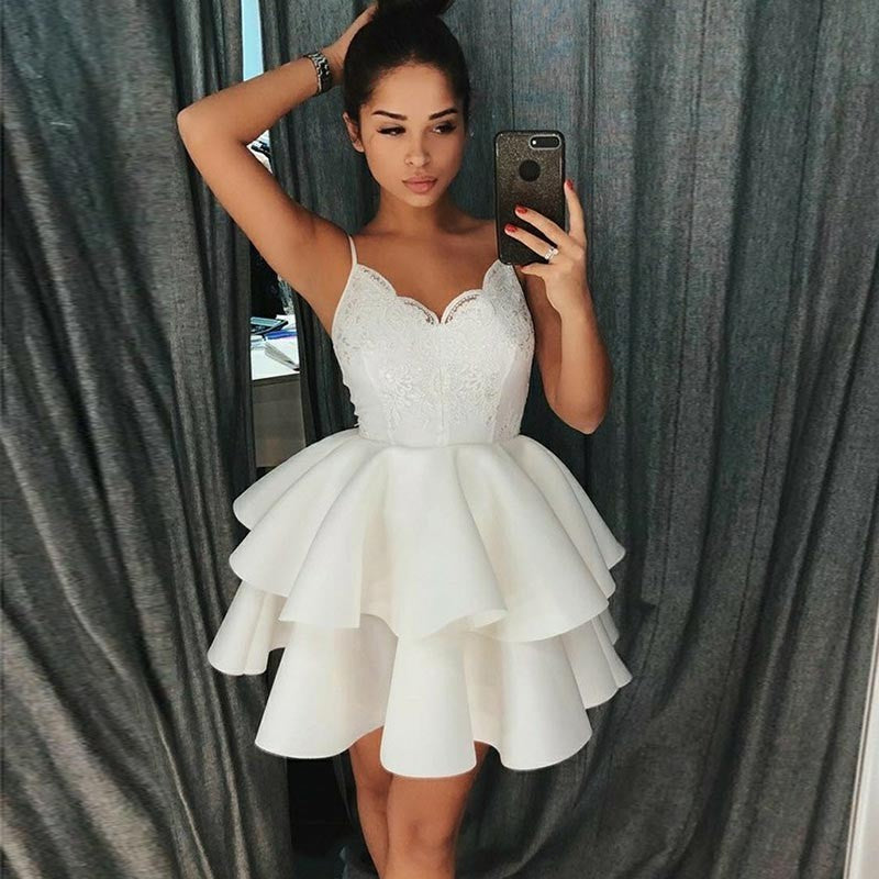 A-Line Spaghetti Straps White Appliques Short Homecoming dresses, HD0394