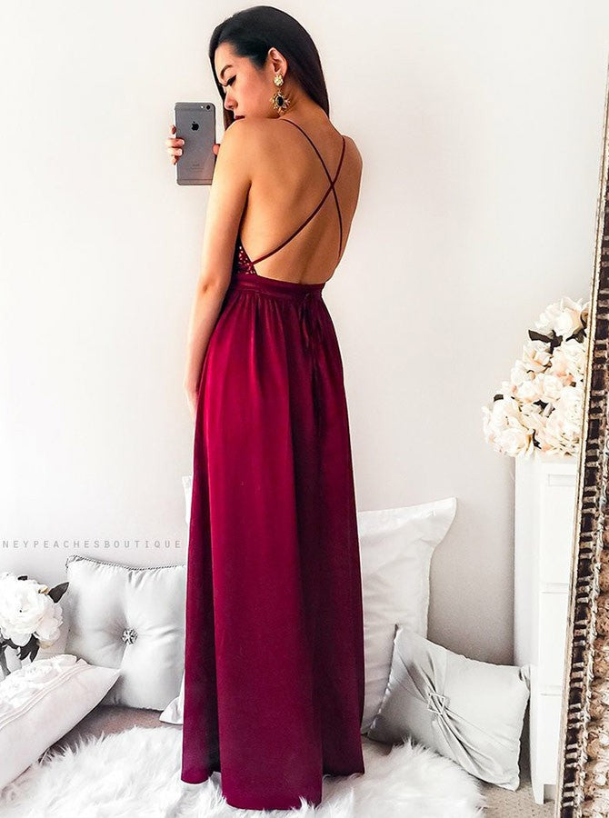 Floor-length Spaghetti Straps Sequins V-neck Split Red Long Prom Dress, PD0133