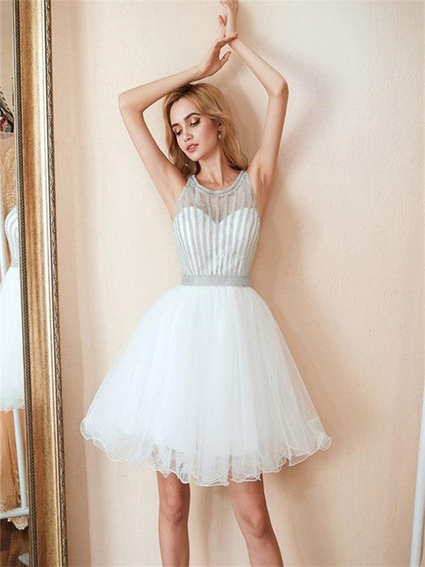 Halter Round Neck Sleeveless Short Beading Tulle Homecoming Dresses, HD0528
