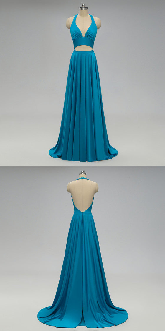 Halter V-neck Backless Long Blue Bridesmaid Dresses With Pleats, BD0554