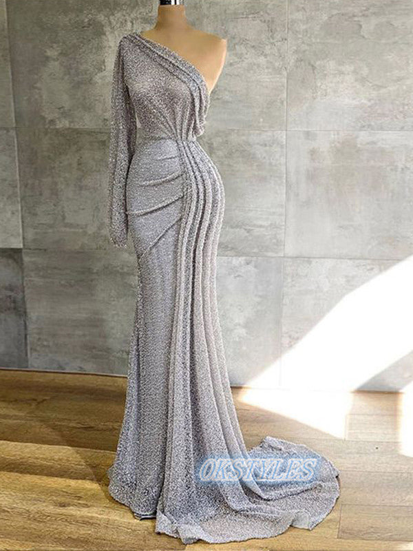 Sexy Mermaid One Shoulder Sequin Long Prom Dresses, OL059