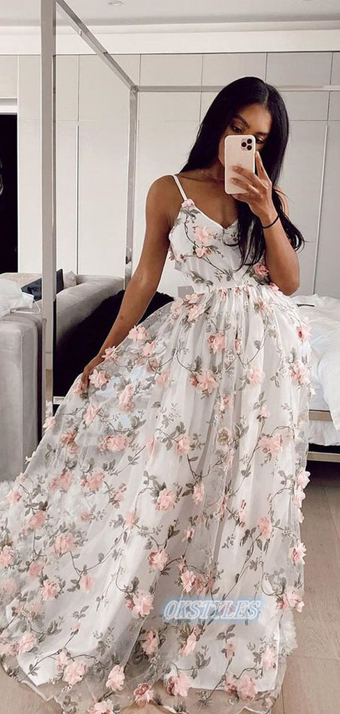 Beautiful A-line Applique Spaghetti Straps Sleeveless Long Prom Dresses, OL060