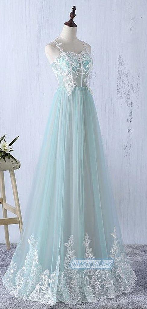 Simple A-line Spaghetti Straps Sleeveless Long Prom Dresses, OL063