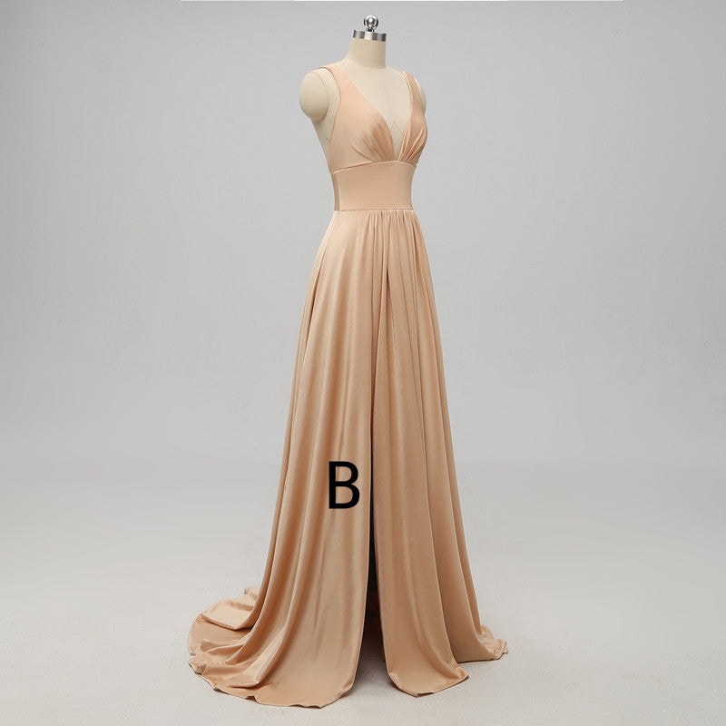 A-line Deep V-neck Backless Bridesmaid Dresses With Pleats, BD0052