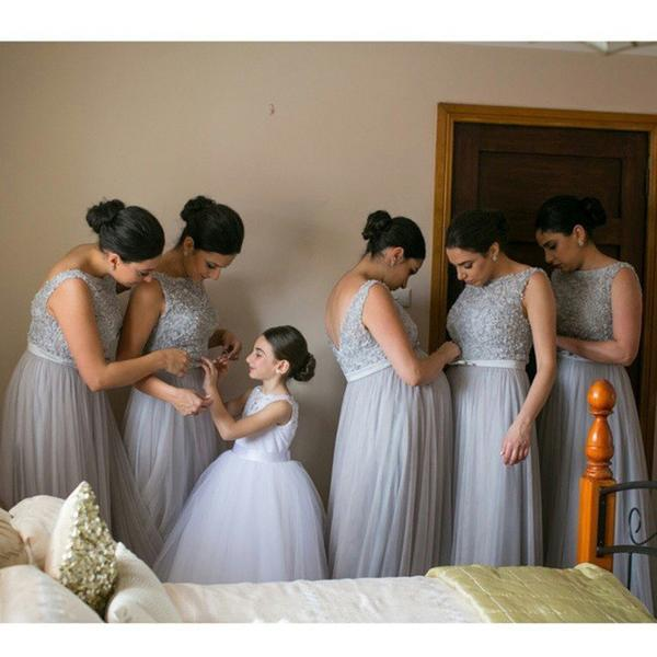 Newest tulle Floor-length scoop neck cheap Back V-neck sleeveless Bridesmaid dresses,  BD0102