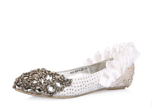 Fashion Sparkly Crystal Flat Heels Pointed Toe Rhinestone Wedding Bridal Shoes, S004