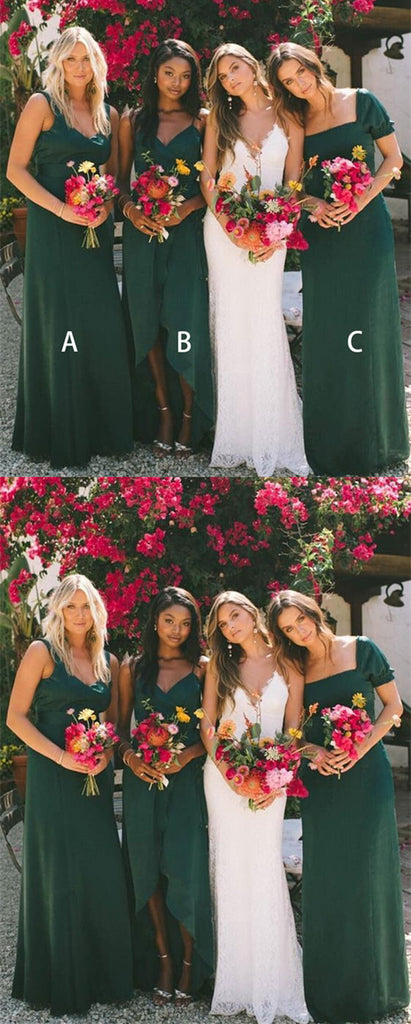 A-Line Floor Length V-neck Dark Green Bridesmaid Dresses, BD0545