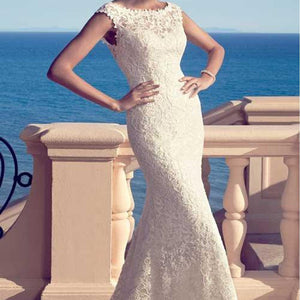 2018 Popular Round Neck Elegant Sheath White Lace Wedding Party Dresses, Bridal Gown, WD0099
