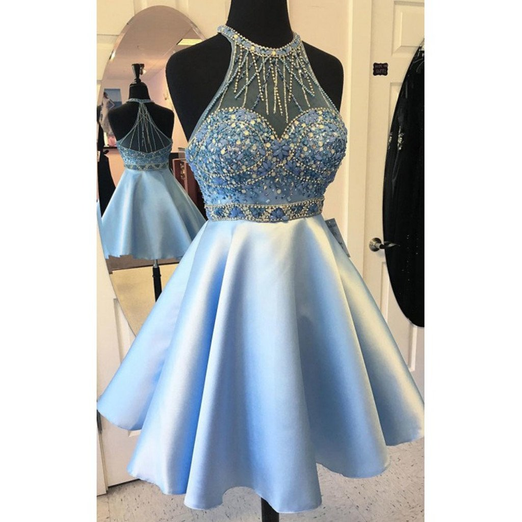 Newest Round neck sleeveless beading A-ling popular prom dresses, homecoming dresses,  HD0334
