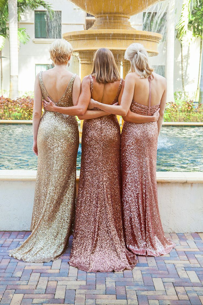 Sparkly Simple Mermaid Sequined different styles cheap Bridesmaid Dress, BD0449