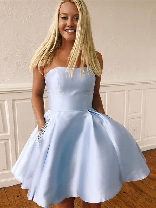 A-Line Strapless Beading Light Blue Homecoming Dresses With Pockets, HD0495