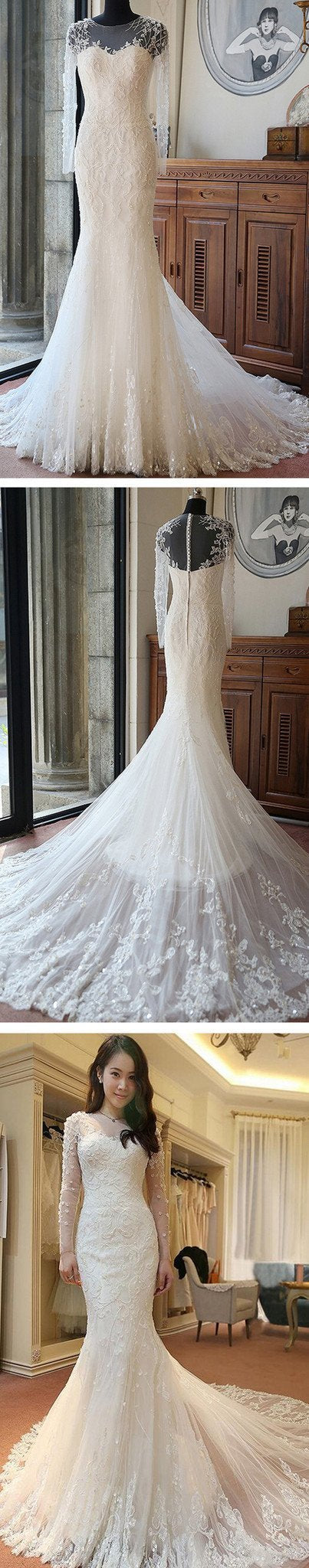 2018 High Quality Custom Sexy Mermaid White Lace Long Sleeves Wedding Party Dress , WD0011