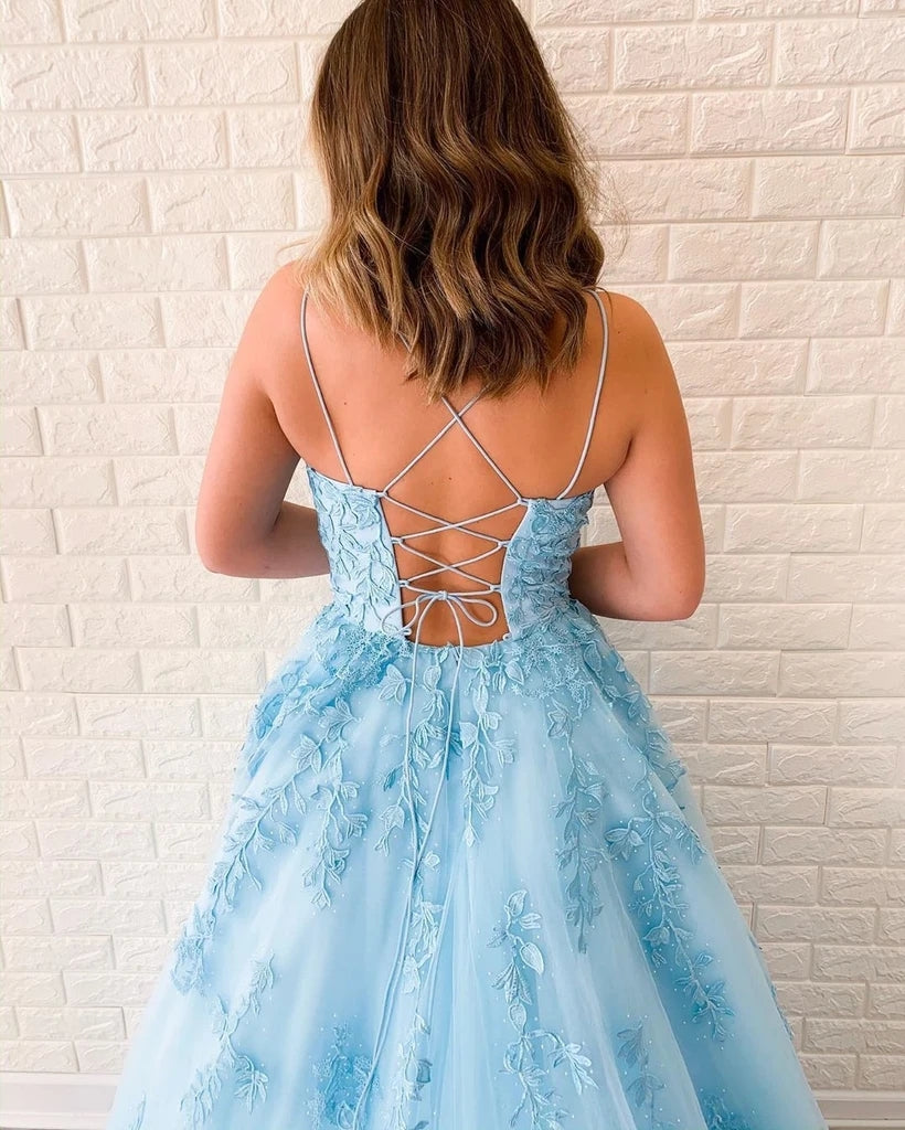 A-line Spaghetti Straps Lace-up Back Appliques Light Blue Tulle Prom Dresses, PD0644