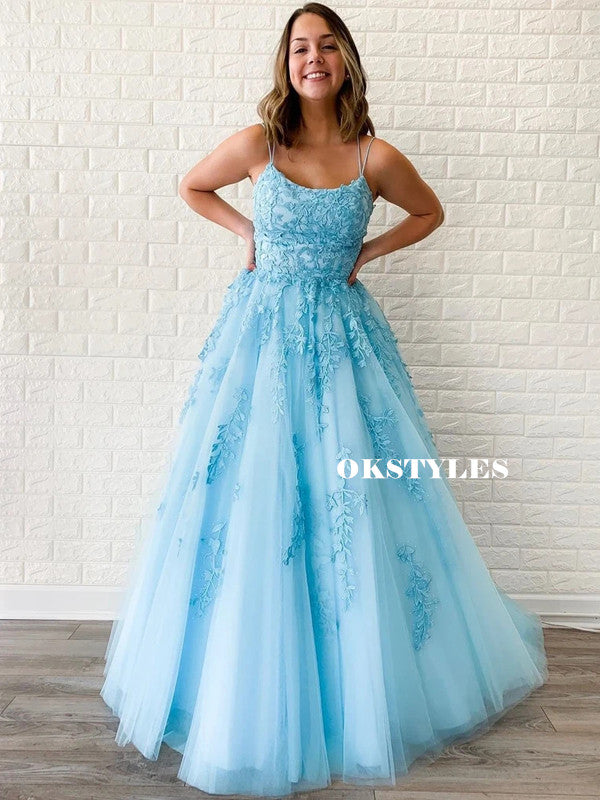 Unique Spaghetti Straps Backless Long Sequins Tulle Prom Dresses, PD0151