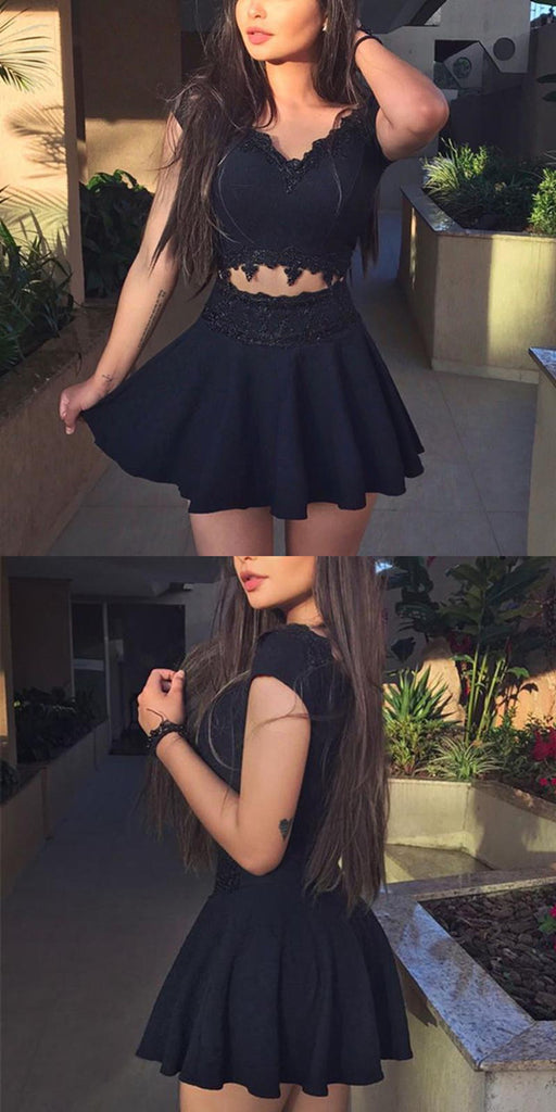 Two Pieces V-neck Black Lace Appliques Cap Sleeves Short Homecoming Dresses, HD0426