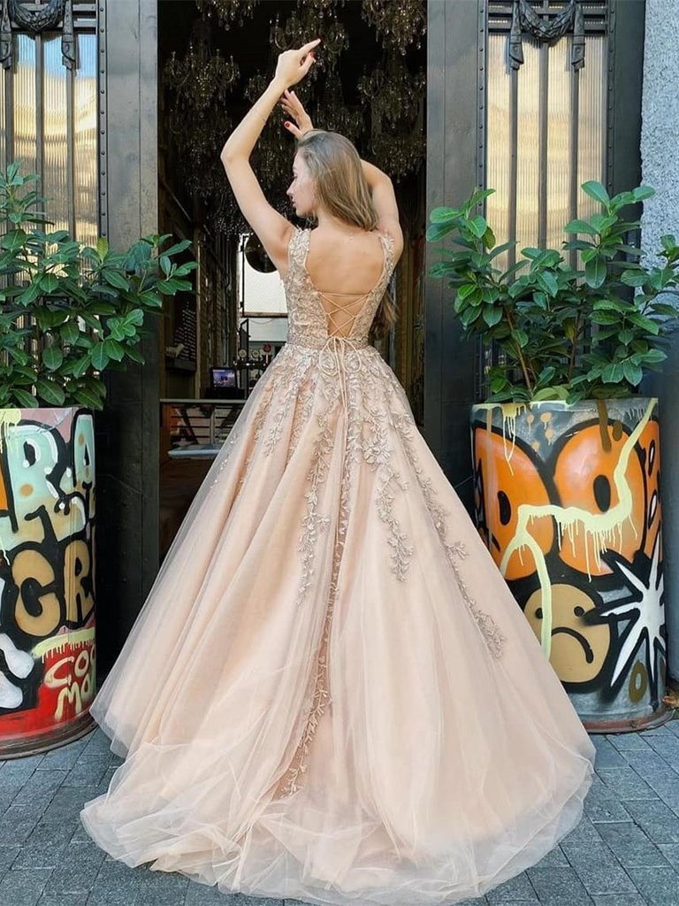 A-line Beteau-neck Sleeveless Lace-up Back Appliques Prom Dresses, PD0645