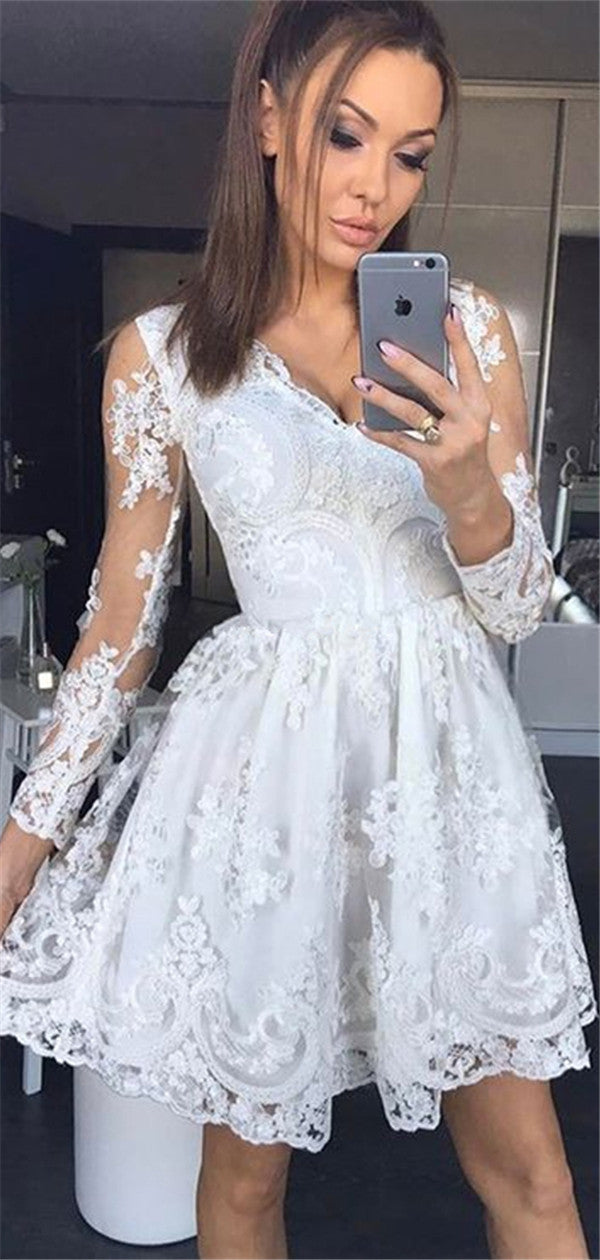 A-line Long Sleeves V-neck Lace Short Homecoming Dresses, HD0512