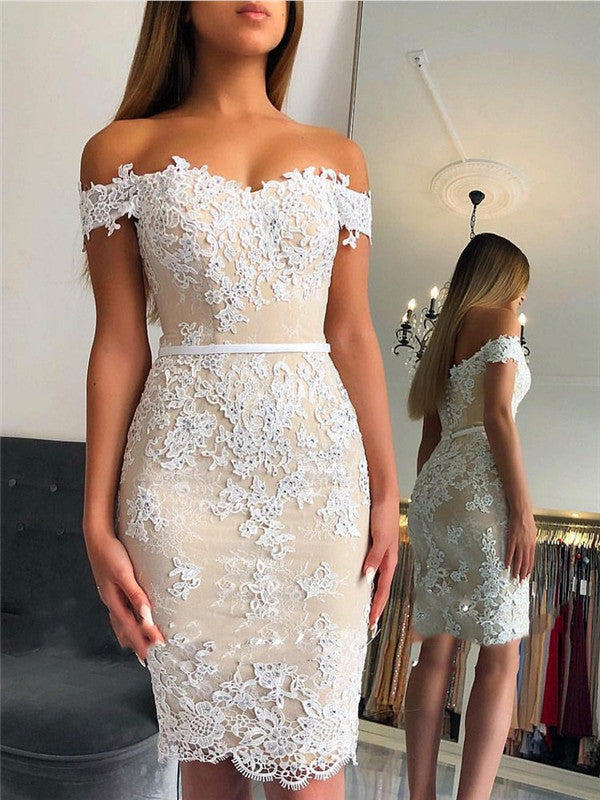 Sheath Off-shoulder Lace Appliques Sexy Short Homecoming Dresses, HD0513